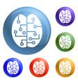 concept brain smart icons set vector image vector image