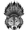 design indian wolf with feathers hat vector image vector image