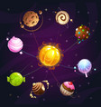 fantasy cartoon solar system with candy planets vector image vector image