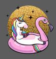 fantasy unicorn on flamingo inflatable circle vector image vector image