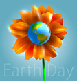 Flower and planet earth vector image vector image