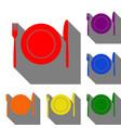 fork knife and plate sign set of red orange vector image vector image