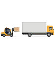 forklift loading boxes into delivery truck vector image