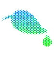 halftone blue-green natural leaf with drop icon vector image vector image