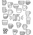 hand drawn colorful cups mugs bowls vector image vector image