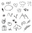 hand drawn design elements set doodle vector image