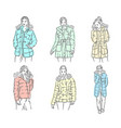 hand drawn sketch of winter jackets vector image