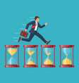 hurrying business man runs on hourglasses vector image vector image