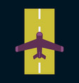 icon in flat design for airport airplane runway vector image vector image