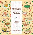 indian food menu hand drawn design asian cuisine