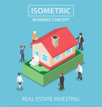 isometric house on dollars banknote vector image vector image