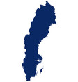 map sweden in blue colour vector image vector image