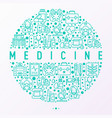 medicine concept in circle with thin line icons vector image vector image