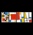modern set covers posters inspired mondrian vector image
