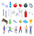outdoor fitness icons set isometric style vector image vector image
