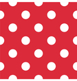 Pattern with white polka dots on red background vector image vector image
