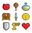 pixel games icons various stylized symbols vector image vector image