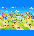 playground full of the children palying on it vector image vector image