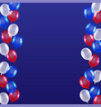 red blue white balloon background usa flag theme vector image vector image