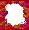 red glass hearts frame vector image vector image
