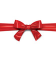 red ribbon with bow realistic template vector image