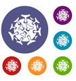 round viral bacteria icons set vector image vector image
