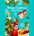 santa sleigh with christmas gift and reindeer card vector image vector image