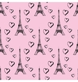 Seamless pattern Eiffel Tower with hearts vector image
