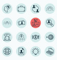 set 16 business management icons includes vector image vector image