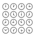 set clocks for every hour icon set vector image vector image