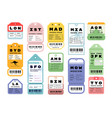 travel stickers airport vintage luggage labels vector image vector image