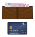 Wallet money and credit card vector image vector image