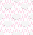 White 3D with colors hearts on pink waves vector image vector image