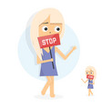 young girl holding placard with stop sign vector image vector image