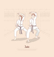 young people in kimono training in dojo trainer vector image