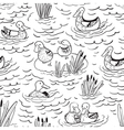 black and white seamless pattern with ducks vector image