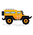 auto with big wheels and stairs yellow suv vector image vector image