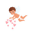 baby cupid character flying and throwing pink vector image vector image