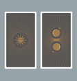back tarot card decorated with stars sun and vector image vector image