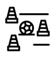 ball and training cones icon outline vector image