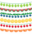 Berries and fruits garland set vector image