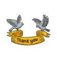 birds carry thank you banner ribbon sketch vector image