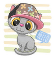 cartoon kitten with a pink cap on striped vector image