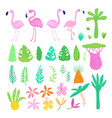 Childish summer doodle with cute flamingos