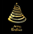 christmas tree from spiral with star on top vector image vector image