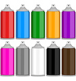 Color Spray Cans In Various Colours vector image