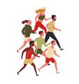 cute men and women dressed in sportswear jogging vector image vector image