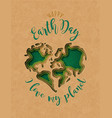 earth day paper cut 3d heart shape map card vector image vector image