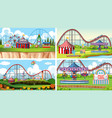 four scenes with many rides in fun fair vector image vector image
