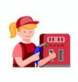 Friendly girl worker gas station in flat illust